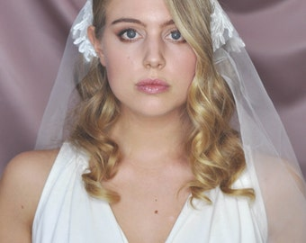 Veil / with application / lace veil / veil, Bridal Veil / Bridal Veil with application / half veil / open veil / open veil