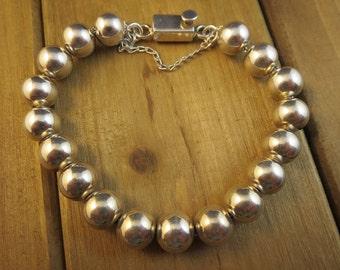 """Sterling Silver 925 Beaded Bracelet 7"""" Long 32.9 Grams"""