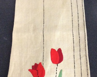 Vintage Appliqued Red Tulips Linen Kitchen Towel
