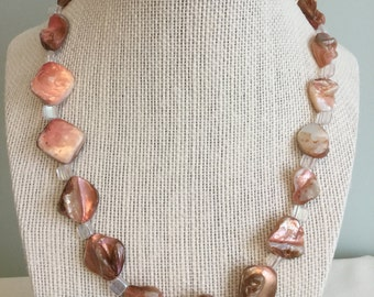 "Upcycled Jewelry ""Just Beachy"" Beaded Necklace - Made with Vintage/ Recycled Materials"