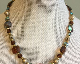 """Upcycled Jewelry """"Brown Beauty"""" Beaded Necklace - Made with Vintage/ Recycled Materials"""