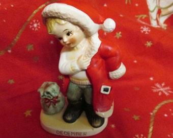 1960's Lefton December Boy Dressed as Santa Figurine 2300