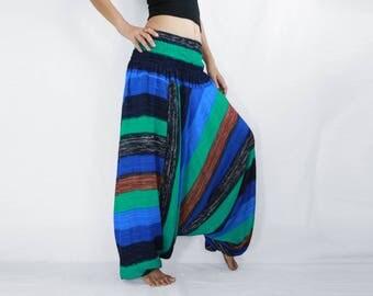 Blue Turquoise Striped Harem Pants / Women Yoga Pants / Convertible Jumpsuit Harem Pants / Music Festival Pants / Comfy Pants - CP PNT005