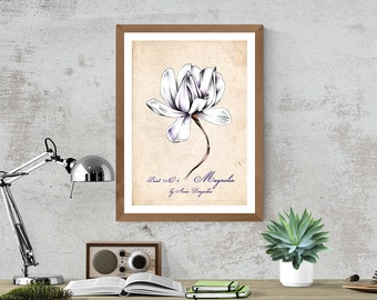 Flower decor, Romantic decor, Vintage decor, Magnolia art, Home decor, Magnolia print, Wall decor, Magnolia poster, Nature illustration