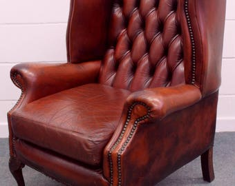 SOLD SOLD Vintage Leather Chesterfield Chair Wing Back Armchair Oxblood Red-Den-Man Cave-SOLD