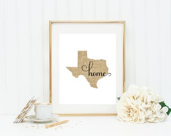 Texas Print, Texas Printable, Texas Wall Decor, Texas Wall Art, Texas Home Print, Texas Prints, State Prints, Texas Art Print, Texas Decor