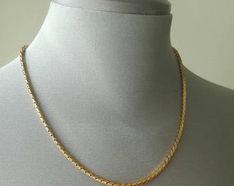 Gold Tone Necklace Chain and Bracelet Set