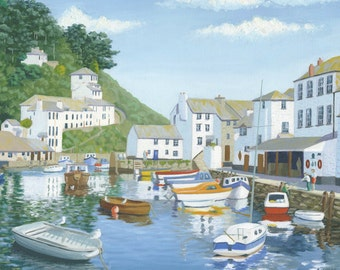 Polperro Harbour Cornwall England Mounted Giclee Print from an Original Oil Painting