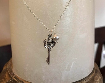 Antique silver key & pearl necklace