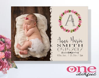 Baby announcement printable photo card, Personalised introducing newborn thank you card, Monogram, Flowers, Birth announcement with picture