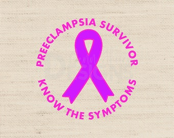 Preeclampsia Survivor Awareness Ribbon SVG Cut File with png, dxf, and eps for Silhouette, Cricut vinyl htv Digital Download