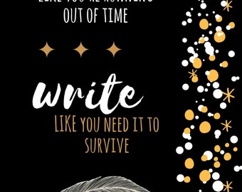 """Hamilton Inspired Fan Art, Printable Musical Poster """"Write like you're running out of time"""", INSTANT DOWNLOAD"""