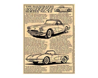 1960 C1 Corvette Art Print,Man Cave Decor,Scott Teeters,Nostalgic Corvette,1960 Corvette Print,Americas Sports Car,1960 Production Corvette