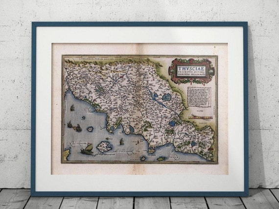 Antique Florence Map Tuscany Digital Print Office Living Room - Printable map of tuscany