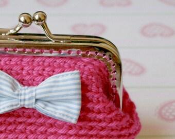 Purse pink crochet small / pink crochet purse