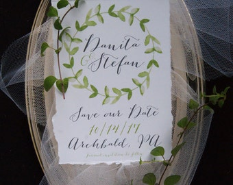 Save the Date - Watercolor Save the Date, Green and Gray Save the Date, Leaves Save the Date, Wreath Save the Date, Garden Save the Date