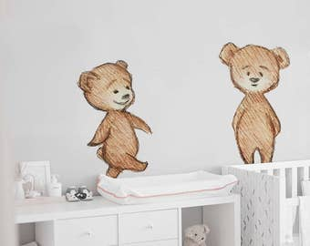 teddy bear reusable wall decal, cartoon bear removable wall sticker, child illustration wall decor, repositionable teddy wall sticker #18W