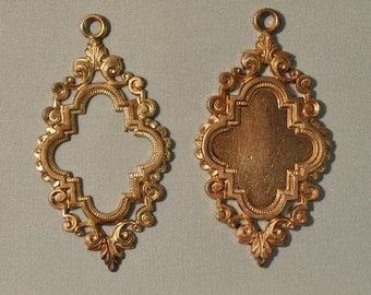 Vintage French Ornate Quatrefoil Style Brass Open or Closed Back Portrait or Cabochon Setting 1 - 2J