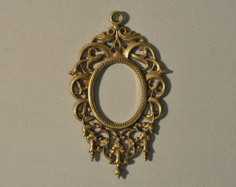 Vintage French Ornate Die Cast Baroque Style Brass Open Back Portrait or Stone Setting 7J
