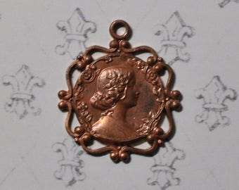 Vintage French Lady's Profile Die Casting Pendant Earring Finding Victorian Style Raw Brass 1 Piece 377J