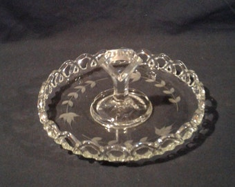 Vintage Open Lace Edge Handled Serving Tray, with Etched Flowers
