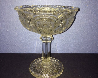 Vintage Pressed Glass Pedestal Bowl