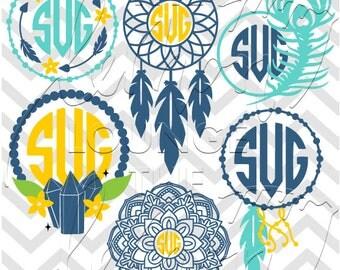 Boho Monogram svg, 6 boho monogram svg, dream catcher svg, peacock feather svg, arrow monogram, crystal svg, mandala svg, commercial use OK