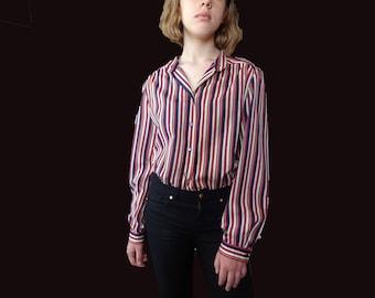70s Horizontal stripped blouse, vintage Gucci inspired stripped blouse, red blue white blouse, 70s classic blouse, stripped shirt XS S M