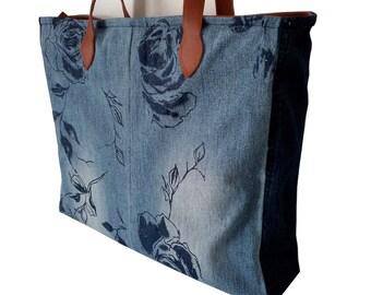 Bag denim rose with leather details