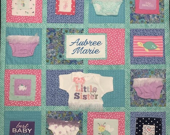 Memory Quilt, Wall Hanging Memory Quilt, Baby Clothes Quilt, Memory Blanket,Personalized, Custom Baby Quilt
