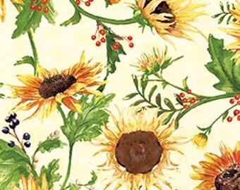 Sale 1.77 YDS--Autumn Splendor, Large Sunflowers on Cream Cotton Fabric by Barb Tourtillotte for Clothworks Fabrics Y1224-2