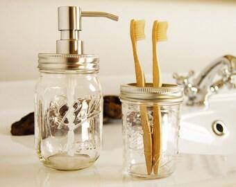 Ball Mason Soap Dispenser & Toothbrush Holder set-ball soap jar Set