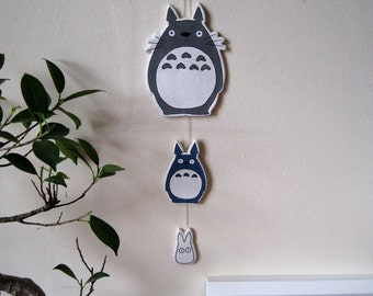 Totoro, Chu Totoro and Chibi Totoro clay wall hanging. Totoro mobile. Totoro nursery decoration