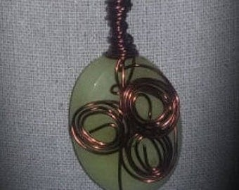 Copper wire wrapped jade colored large stone