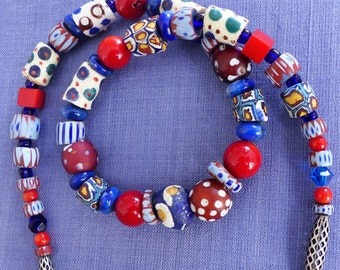 African Beads // Krobo Glass Beads // Ethno Style  // Eye Beads // Lapis // Coral
