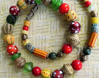 African beads // Ethno Style // African Style // Eye beads // Krobo glass beads // red coral // bronze // glass beads // red // yellow