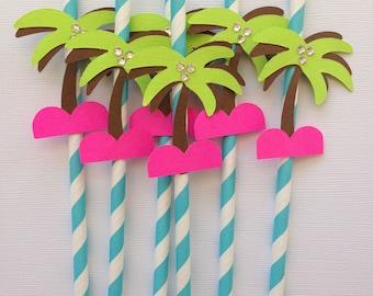paper straws palm trees