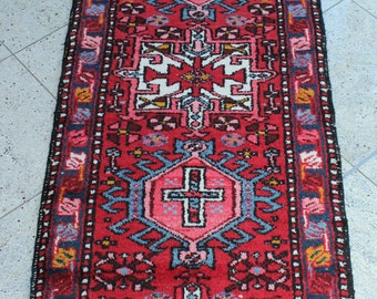 263 x 63 cm (8.6 x 2.1 ft) KARADJA, Heriz rug, Hamedan, vintage carpet, Persian rug, handmade, oriental rug, hand knotted, old, wool.