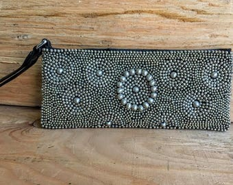 Leather Metal Beaded Wristlet