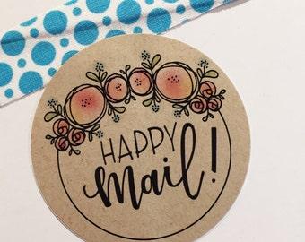 Happy Mail - 2-1/2 Inch Kraft Sticker