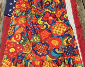 Amazing Psychedelic Groovy 70s Maxi Wrap Cotton Skirt by Potpourri Press Flowers & Swirls