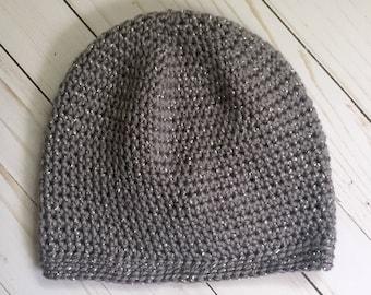 Sparkly Slouchy Hat, crochet beanie, crochet hat, crochet slouchy hat, hat, beanie, slouchy