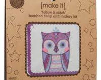 Cross stitch kit, Owl cross stitch, Follow & Stitch Bamboo Hoop Embroidery Kit - Mystic Owl