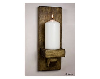 Rustic Wooden Wall Sconce Candle Holder Handmade