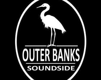 Outer Banks Soundside Vinyl Decal, Heron Outer Banks NC Vinyl Decal