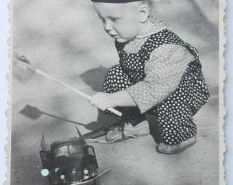 Cute little 1940s Russian boy with toy car (2.) old snapshot baby boy baby photo toys ORIGINAL vintage photo