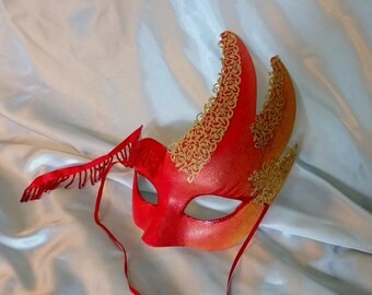 Red Mask - Festival Wear, Masquerade mask, Paper Mache Mask, Costume Mask, Festival Mask, Fire Mask, Half Mask, Festival Accessories