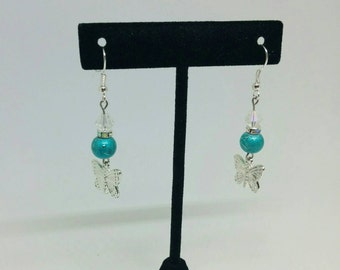 Handmade Teal Beaded Dangle Earrings with Silver Butterfly Charm