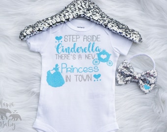 Baby Girl's Cinderella Onesie, Step Aside Cinderella There's a New Princess In Town Shirt, Disney Onesie, Toddler Disney Outfit, Princess
