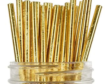 10 CT Metallic Gold Paper Straws/ Gold Paper Straws/ Gold Party Straws/ Gold Party Supplies/ Gold Straws